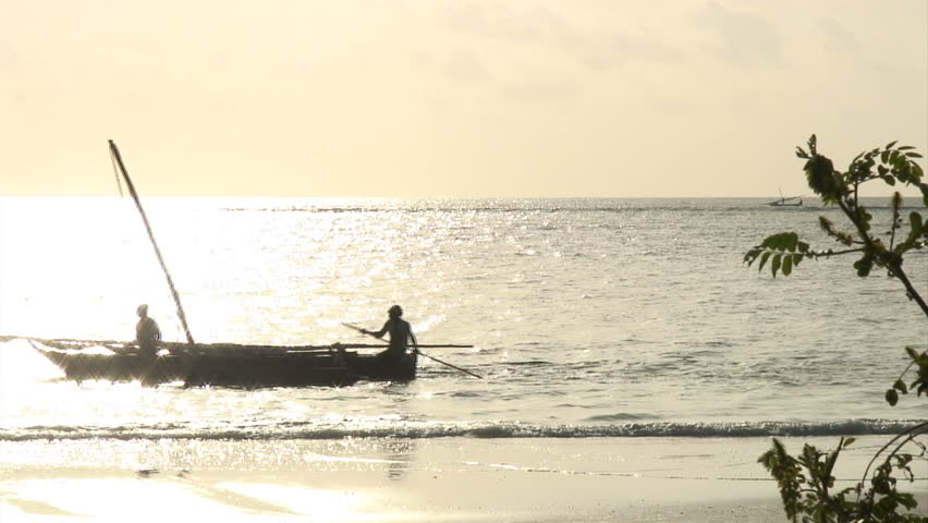 African Fishing Boats at Dawn, Zanzibar - HD stock footage clip