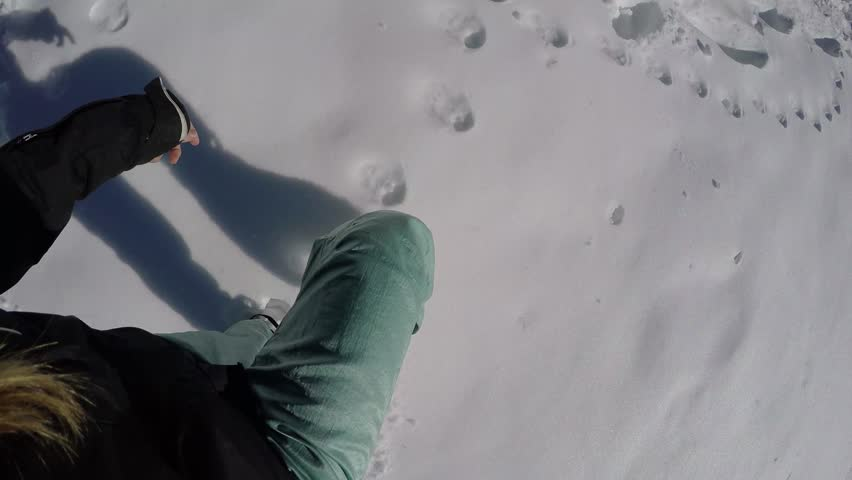 Point of view of walking on snow 4k  | Shutterstock HD Video #12244766