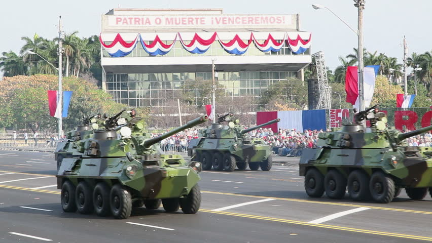 HAVANA - APRIL 17: Cuban tanks and trucks in parade commemorating the 50th anniversary of the Bay of Pigs, April 17, 2011, Havana, Cuba.  - HD stock footage clip