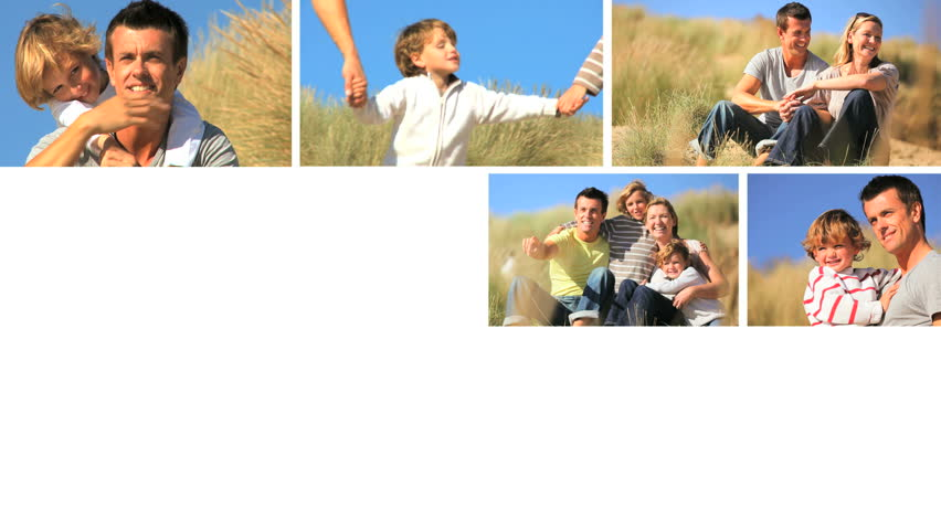 Montage of caucasian family having fun times together by the beach - HD stock video clip