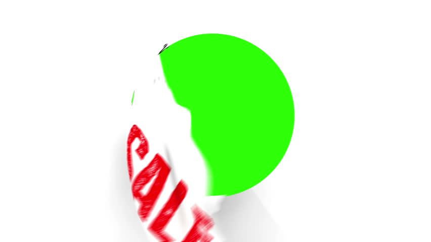 A pair of Chrome Scissors cut around a text of Sale in Red. After half way, the circle the scissors have cut starts to fall from the screen. The camera zooms in to a green screen to a transition