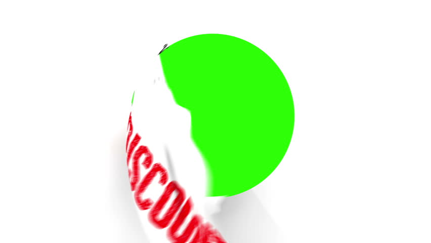 A pair of Chrome Scissors cut around a text of Discount in Red. After half way, the circle the scissors have cut starts to fall from the screen. The camera zooms in to a green screen to  a transition.