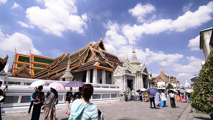 Landmark Royal grand palace in Bangkok Thailand on July 25, 2015. Bangkok, Thailand.  - HD stock video clip