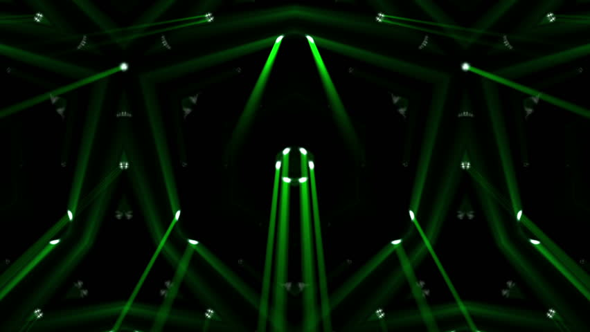 Fancy Club Light Effects In A Dark Background Stock: Green Laser Light Flashing Through Clouds Of Smoke On A