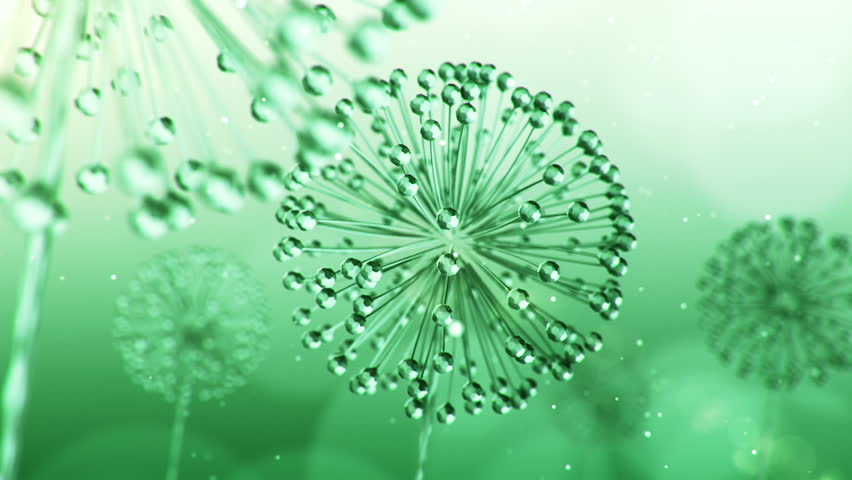 Animation rotation and waving on wind of dandelion flowers with seeds. Abstract background with flowers from glass and crystals. Animation of seamless loop.