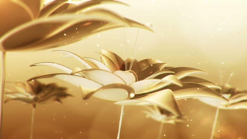 Animation rotation and waving on wind of petals flowers with seeds. Abstract background with flowers from glass and crystals. Animation of seamless loop.