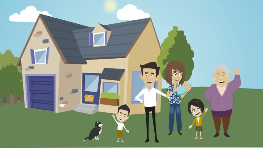 Cartoon Animation People With Dark Skin A Family With