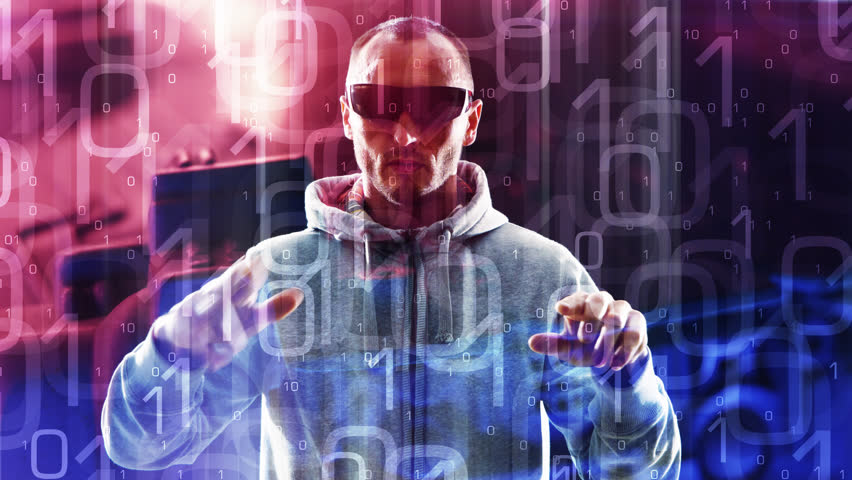 Virtual reality glasses concept, futuristic hacker, animated binary code background | Shutterstock HD Video #12524297