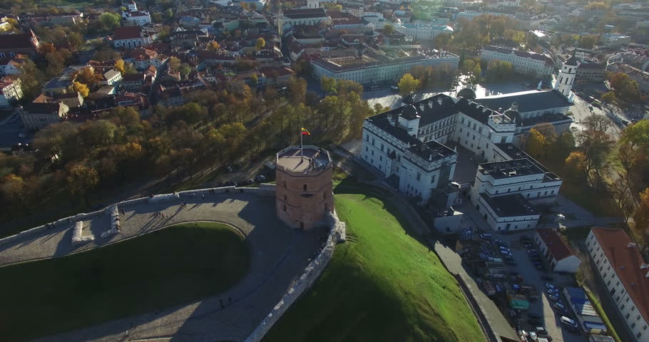 VILNIUS, LITHUANIA - OCTOBER 28 : AERIAL 360 flight around Gediminas castle hill and Neris river in Vilnius city on October 28, 2015, Vilnius, Lithuania