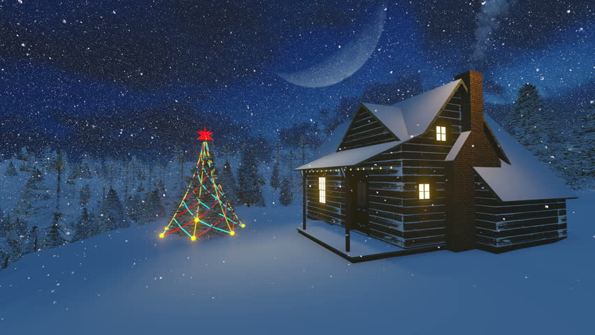 Christmas Tree Scenery Part - 19: Christmas Night Scenery. Christmas Tree And Cabin, Decorated With A Light  Garland In The