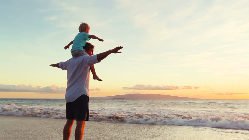 Father and Son Play Airplane Arms Raised Together at the Beach at Sunset. Happy Fun Smiling Lifestyle. | Shutterstock HD Video #12547076