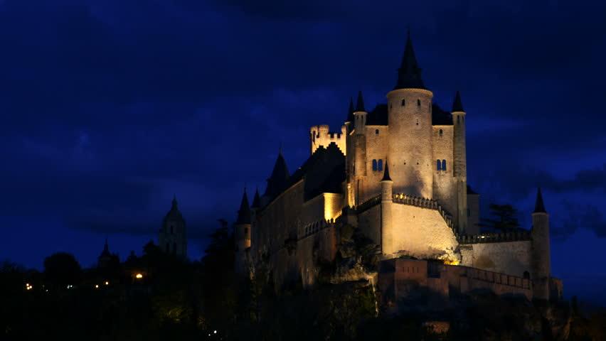 The Segovia Alcazaba night. Filmed in Segovia, Castilla la Mancha, Spain. November 2015. | Shutterstock HD Video #12563987