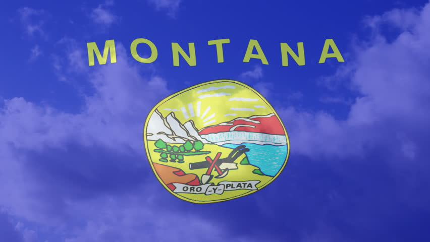 Montana USA American Flag  and Clouds in Background  - HD stock video clip