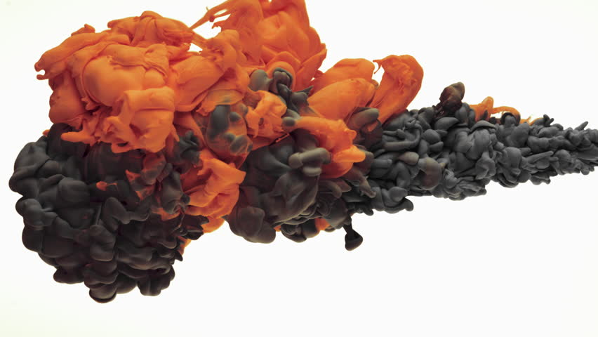 Close-up orange and black ink being poured into water. Shot with high speed camera, phantom flex 4K. Slow Motion.