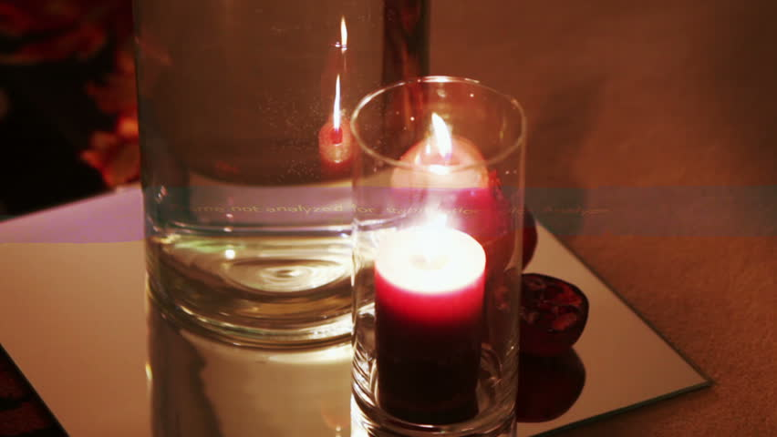 At wedding ceremony on floor are burning candles in glass flasks - HD stock video clip