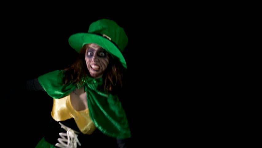 Female leprechaun is dancing through the room | Shutterstock HD Video #12594155