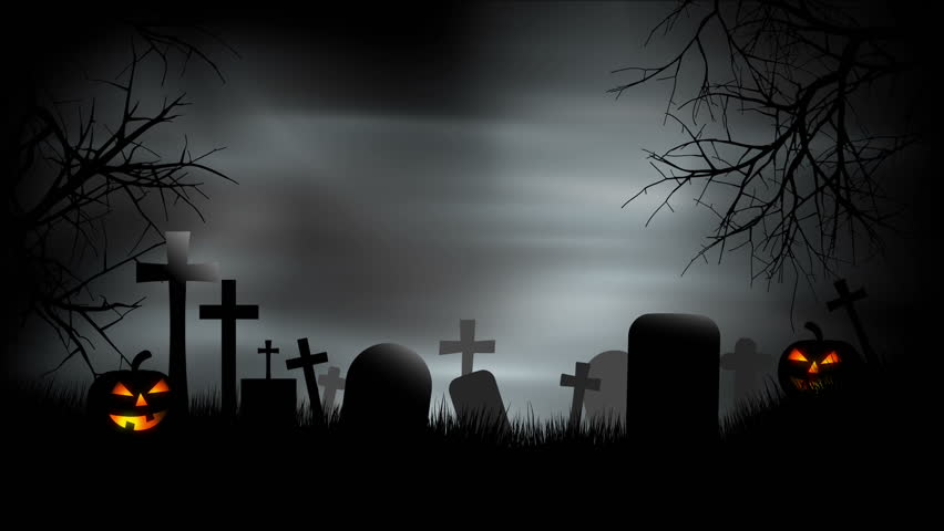 A creepy graveyard halloween background scene with graves, evil pumpkins and spooky sky. - HD stock footage clip
