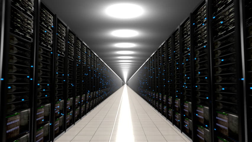 Data center servers endless corridor loop centre 4K