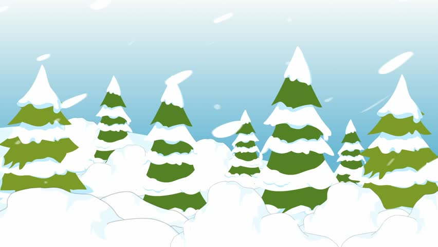 Cartoon Animation Is Heavy Snow, Forest Winter Day, A Lot ...