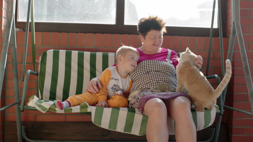 Little boy and his grandmother are sitting on the garden swing bench. Woman is cuddling the boy and petting a red cat. - HD stock footage clip