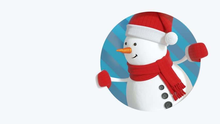 Funny 3d Snowman Looking Out The Round Window, Christmas