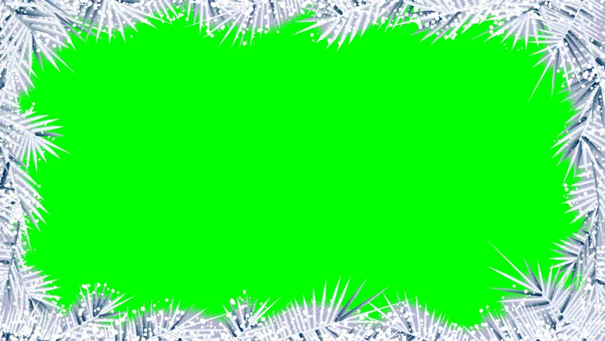 Border from gleaming, shining frozen pattern with green screen behind. Winter theme | Shutterstock HD Video #12682814
