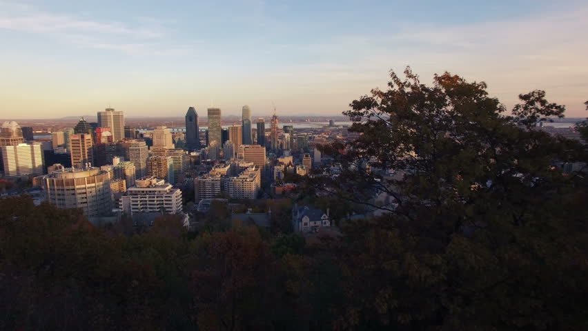 4K aerial drone shot of montreal skyline at sunset forward move | Shutterstock HD Video #12731351