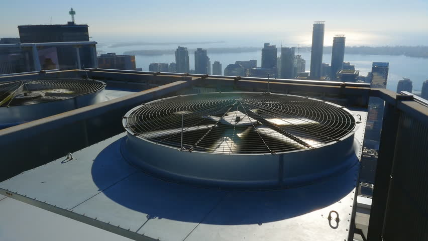 Cooling towers on top of high building. Toronto, Ontario, Canada.