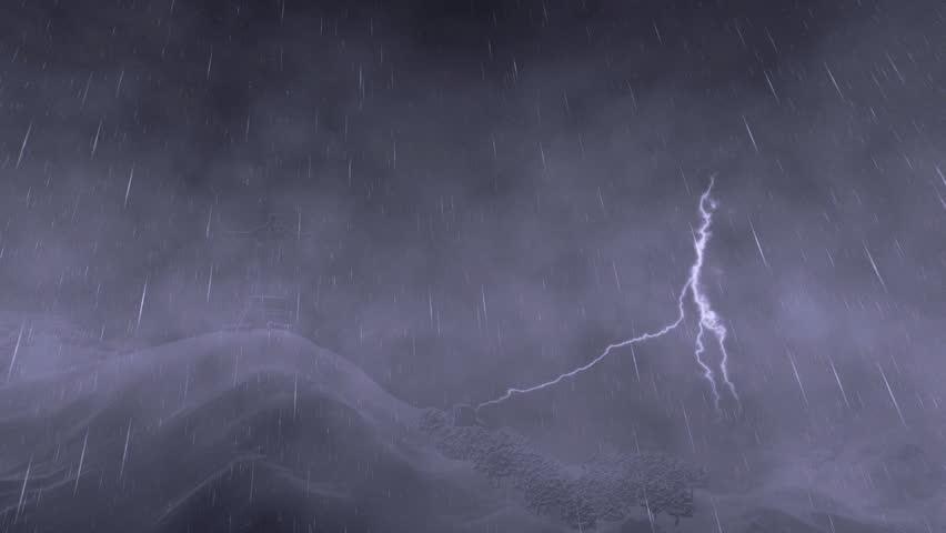 Rio de Janeiro/Brazil _ 10.30.2015: [Christ the Redeemer, Rio de Janeiro, lightning storm, close up] - HD stock footage clip