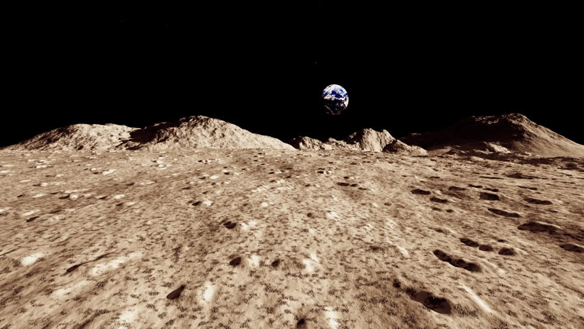 Surface of the Moon landscape HD stock footage. An animation of the Lunar surface with it's rocky landscape.