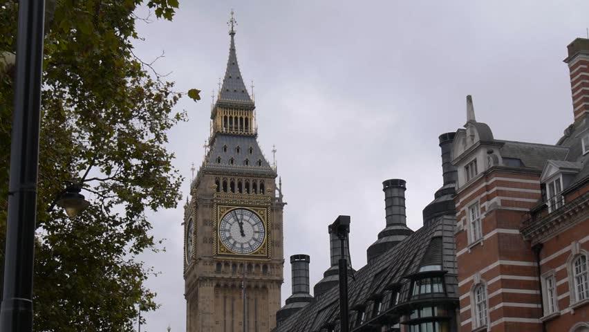 London, England - October, 2015 - Panning shot revealing Elizabeth Tower / Big Ben.