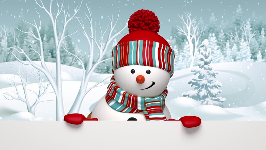 Christmas Snowman Salutation, Animated Greeting Card, 3d Cartoon Character St...
