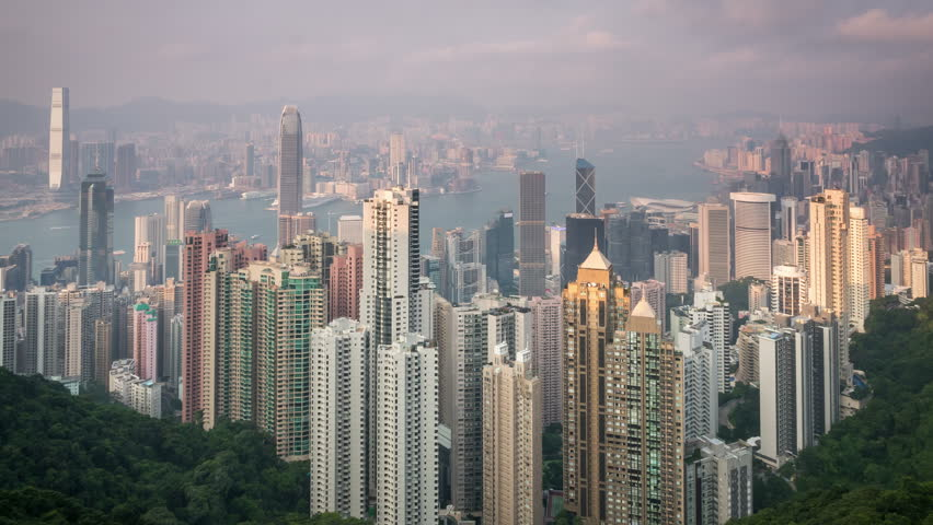 Evening view and great panorama from Victoria Peak, timelapse. | Shutterstock HD Video #12803891