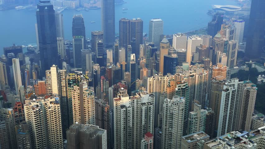 Aerial view of Hong Kong, static shot. Color graded. Visit my portfolio for Cinelike D flat picture profile version. | Shutterstock HD Video #12805394