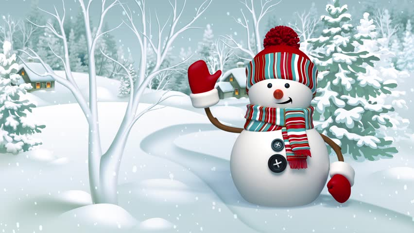 Christmas 3d Snowman, Animated Greeting Card, Winter Landscape, Holiday Backg...