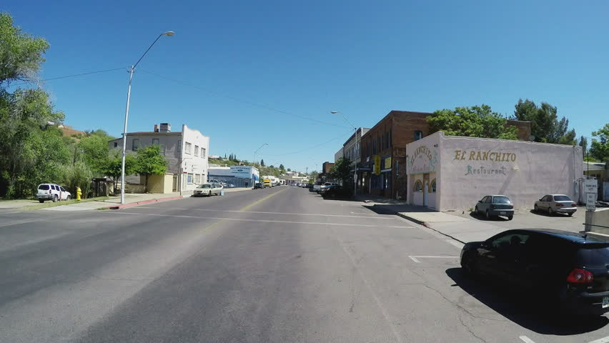 GLOBE, AZ/USA: May 09, 2015- A camera mounted on a vehicle travels through the historic downtown area of Globe, Arizona- a prominent mining town. - HD stock video clip