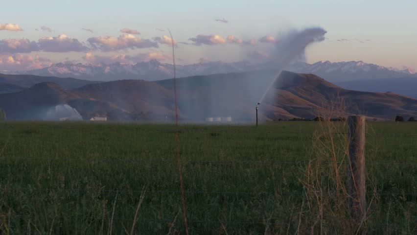 Irrigation, water use on Farm in Rock Mountains