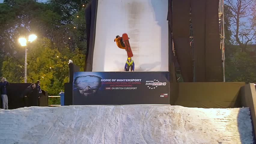 LONDON, UNITED KINGDOM - OCTOBER 25, 2015 - Acrobatic display by ski and snowboard champions in slow motion