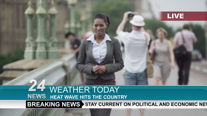 4K Female weather reporter doing live piece to camera outdoors in the city of London. Shot on RED Epic.