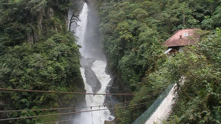 Pailon del Diablo (Devil's Cauldron) waterfall near Banos town, Ecuador - HD stock video clip