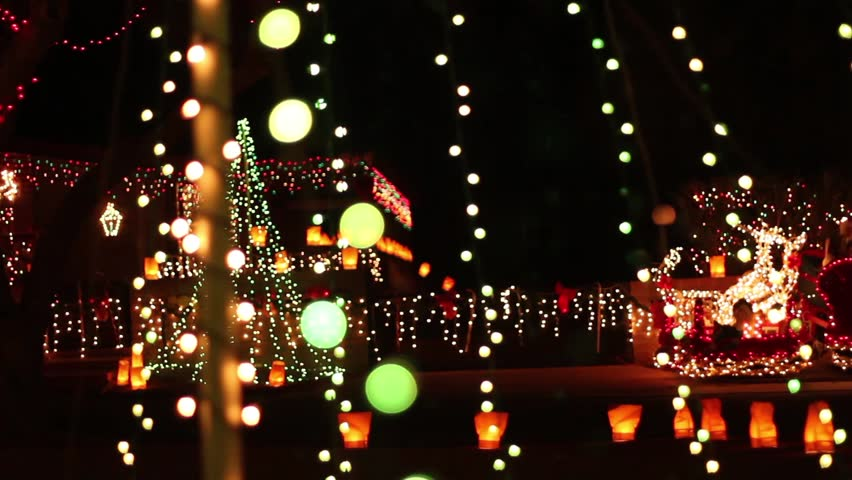 A pan across an elaborate display of Christmas lights - HD stock video clip