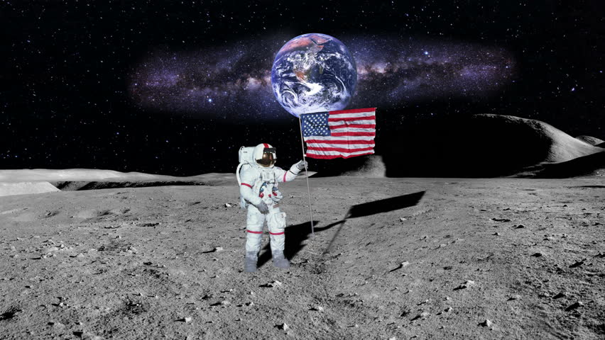 Astronaut Puts A US Flag On The Moon Stock Footage Video ...