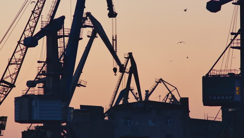 Silhouetted harbor cranes loading freight during golden hour, flocks of birds flying