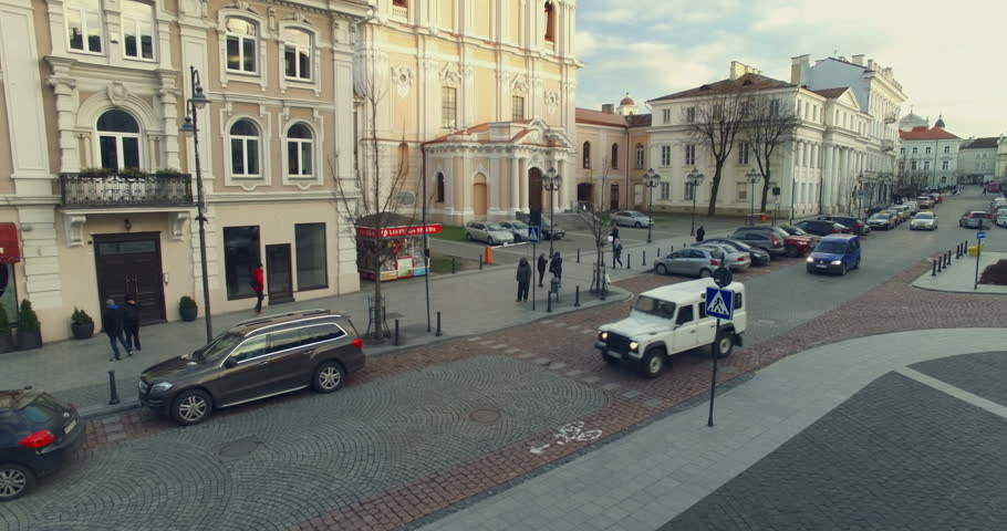 VILNIUS, LITHUANIA - NOVEMBER, 25, 2015; Beautiful aerial footage of Church of St. Casimir and landscape of Vilnius old town. November 25, 2015 in Vilnius, Lithuania