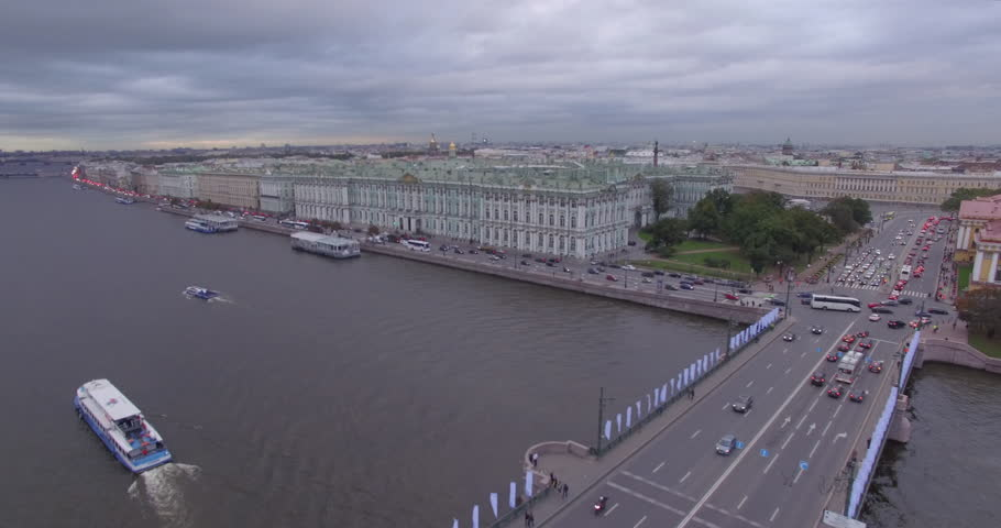 Beautiful aerial view of Hermitage museum through the Palace Bridge. | Shutterstock HD Video #13000388