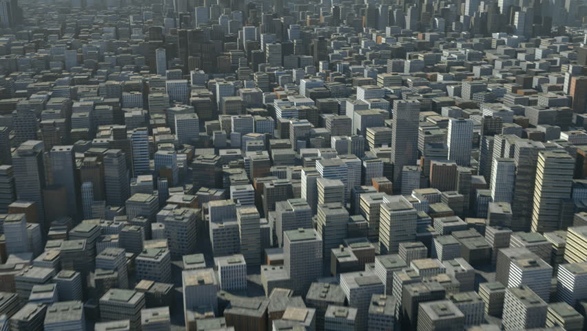 flight over 3d city - high quality 3d animation