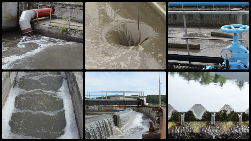 Sewage waste water treatment plant. Hole flow. Blue stopcock valve and pipes. Water sedimentation and filtration. Montage of video clips collage. Split screen. Black round corner frame. Full HD 1080p.