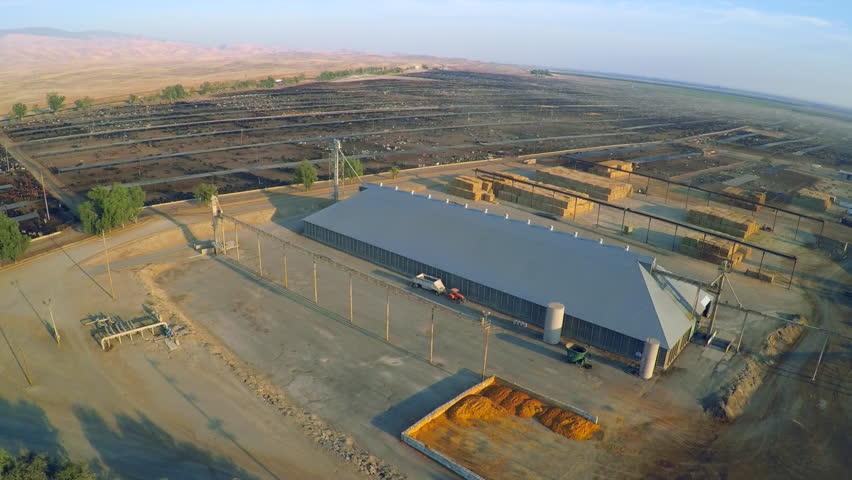CALIFORNIA - CIRCA 2015 - Aerial over a vast cattle slaughterhouse in Central California.