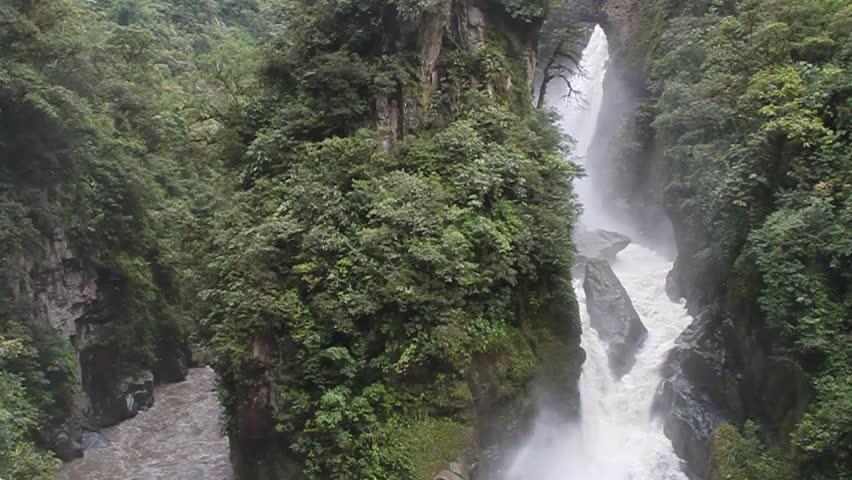 Pailon del Diablo (Devil's Cauldron) waterfall near Banos town, Ecuador - HD stock footage clip