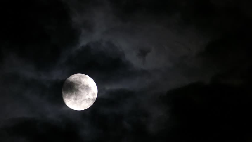 Timelapse with full moon moving between clouds, 4k | Shutterstock HD Video #13082756